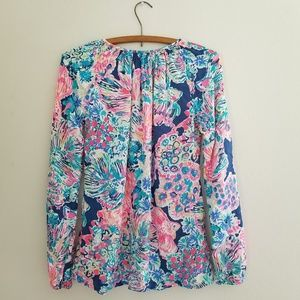 Lilly Pulitzer Tops - Lilly Pulitzer Willa Indigo Gypsea XXS blouse